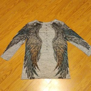 Affliction bedazzled wing design shirt